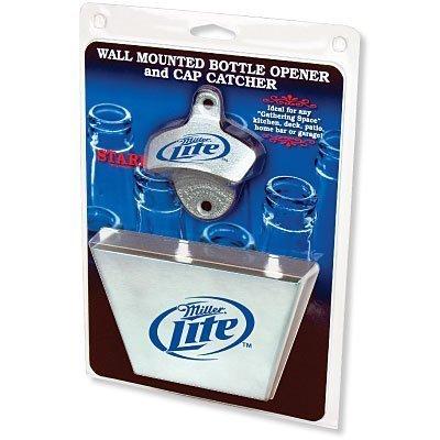 Miller Lite Bottle Opener / Metal Bottle Cap Catcher - Miller Lite Wall
