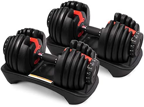 DELOBOLL Adjustable Dumbbell 50 lbs Fitness Dial Dumbbell Series Strength Training Weights Gym Equipment for Man and Women Exercise Dumbbell