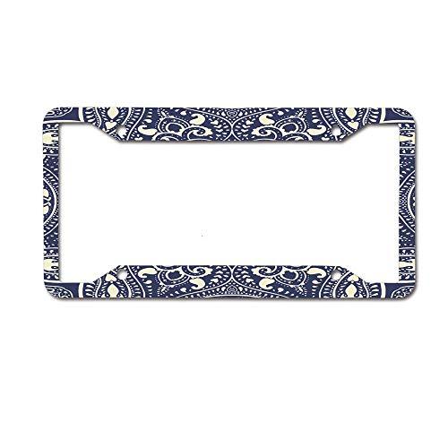 (MichelleSmithred Mandala Circular Pattern Summer Boho Bohemian Native Asian Print Navy Blue Ecru License Plate Frame Aluminum Car tag Cover 4 Holes and Screws for US and Canada)