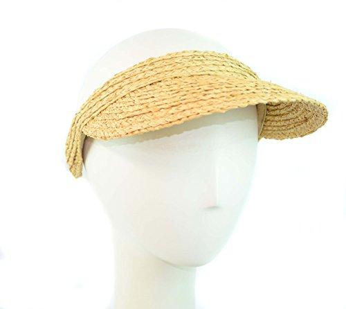 Surell Sun Visor - Hand Woven Soft Raffia Straw Visor Style Sun Hat Perfect Beach Gift
