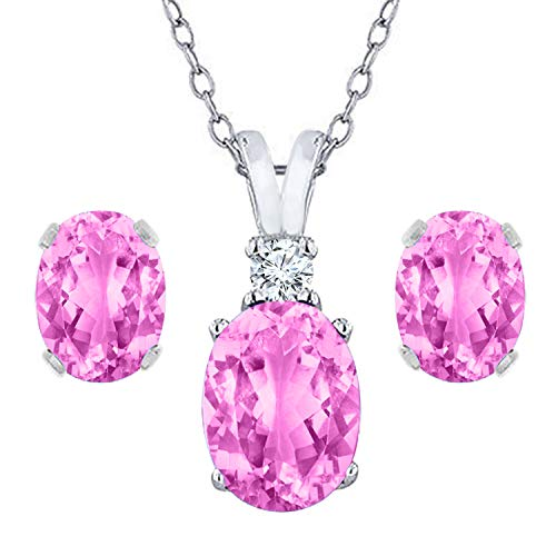 Pink Sapphire White Gold Jewelry Set - Diamond Scotch 14k White Gold Over Simulated Pink Sapphire Oval Frame Pendant Necklace & Stud Earring's Jewelry Sets for Women