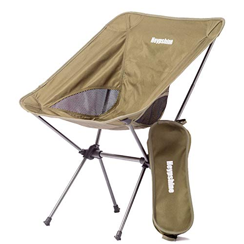 Heypshine Portable Camping Chair - Compact Ultralight Folding Backpacking Chairs, Small Collapsible Foldable Packable Lightweight Backpack Chair in a Bag for Outdoor, Camp, Picnic, Hiking-Khakia ()