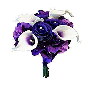 Sweet Home Deco Real Touch Calla Lily Wedding Bride Bouquet/Boutonniere/Corsage Artifiial Flower Wedding Flower Package (Purple-Bridesmaid Bouquet) 60