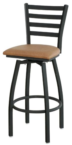 Ladder-Back Bar Stool w Upholstered Swivel Seat & Black Metal Frame, Yew Green 43493-OG-10779-O-20739 (Yew Wood Furniture)