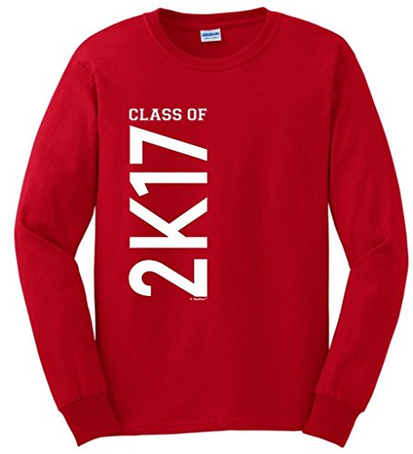 Graduation Decorations Class of 2017 2K17 Graduation Long Sleeve T-Shirt Large Red