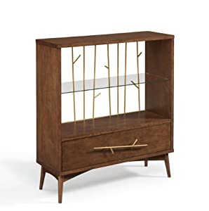 mid century modern gold metal wire back display cabinet bookshelves with 1 adjustable tempered glass shelf and 1 drawer with solid wood legs includes - Gold Bookshelves