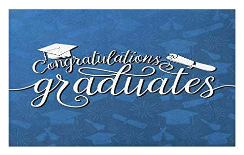 Lunarable Graduation Doormat, College Celebration Ceremony Certificate Diploma Square Academic Cap Print, Decorative Polyester Floor Mat with Non-Skid Backing, 30 W X 18 L Inches, Blue and White by Lunarable (Image #1)
