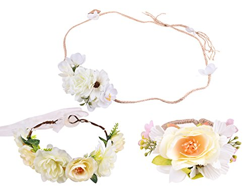 [women floral wreaths cute headbands flowers bracelets for weddings Style Seven] (Homemade Ancient Greek Costumes)