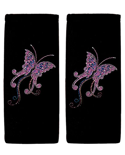 ALLBrand Car Truck Crystal Bling Rhinestone Studded Seat Belt Cover Shoulder Pad Cushion - Pair (Pink Butterfly/Black)