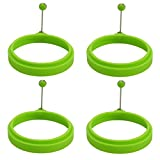 BESTOMZ 4pcs Round Silicone Egg Pancake Rings Creative Omelette Mould Shape For Eggs Frying Pancake Cooking Mould (Green)
