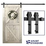 SmartStandard 8ft Heavy Duty Sliding Barn Door Hardware Kit - Smoothly and Quietly - Simple and Easy to install - Includes Step-By-Step Installation Instruction -Fit 42'- 48' Door Panel (J shape)