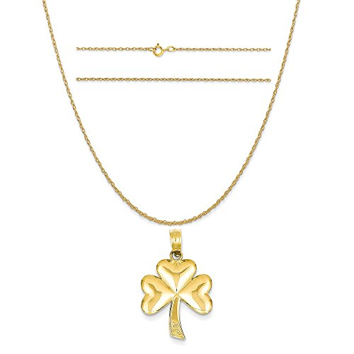 K&C 14k Yellow Gold Polished Solid Shamrock Pendant on 14K Yellow Gold Carded Rope Chain Necklace, 20
