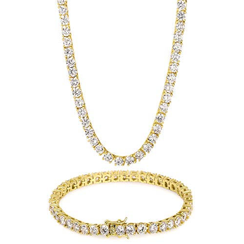 KRKC&CO 4mm Tennis Chain and Bracelet Set, Single Row Prong Setting with Hand-Selected 5A CZ Stones, Urban Street-wear Hip Hop Jewelry for Rappers (Gold 8, ()