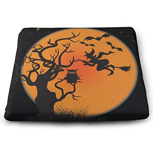 Halloween Witches Pumpkins Bats Owl Moon Seat Cushion Memory Foam Cushion for Outdoor Patio Furniture Garden Home Office, Square Ergonomic Sit Cushion for Lower Back Tailbone Coccyx Hips]()