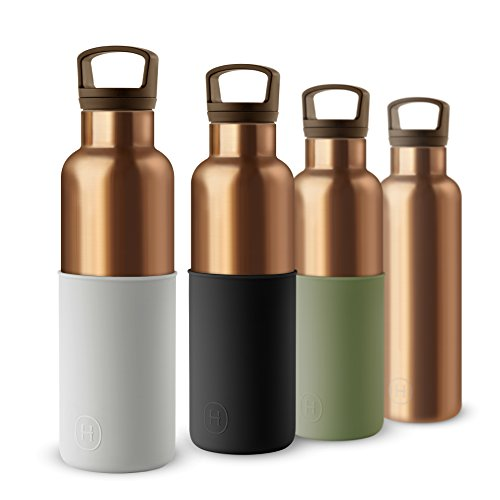 Chic Bottle - HYDY Vacuum Insulated Thermal Water Bottle 20 oz - BPA Free Stainless Steel - Eco Friendly - Ideal for Exercise, The Office and Travel - Modern Stylish Urban Design (Bronze Gold- Cloudy Grey)