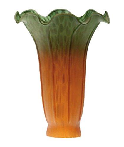 "Meyda Tiffany 10192 Pond Lily Lamp Shade, 4"" Width x 6"" Height, Amber/Green"