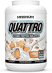 Magnum Nutraceuticals Quattro Protein Powder - 2lbs - Toasted Cinnamon Cereal - Protein Isolate - Lean Muscle