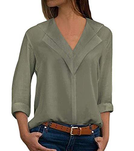 Tops T Col Shirt Casual Printemps Haut Mode Chemisiers Manches Femmes Unie V Shirt Blouses Arme Couleur Longues Verte et Automne qawx0C