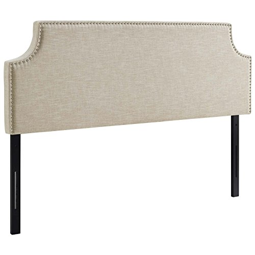 Modway MOD-5392-BEI Laura Upholstered Fabric Full Headboard Size with Cut-Out Edges and Nailhead Trim in (Full Nail Button Headboard)