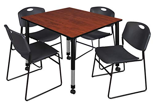 Regency TB4848CHAPCBK44BK Kee Height Adjustable Mobile Classroom Table Set with Four Zeng Chairs, 48