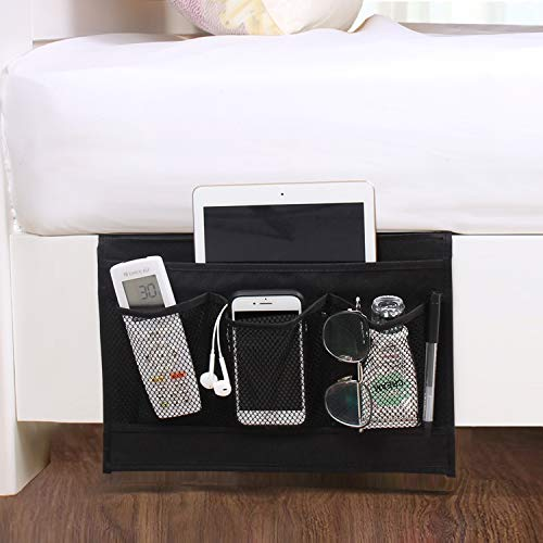 DuomiW Bedside Storage Organizer, Beside Caddy, Table Cabinet Storage Organizer, TV Remote Control, Phones, Magazines, Tablets, Accessories (Black)