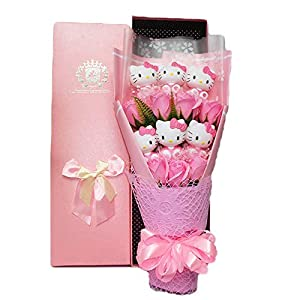 Disnation Cute Cartoon Hellokitty Dolls Creative Flower Bouquet for Women's Day Anniversary with Beautiful Gift Wrapping (3) 2
