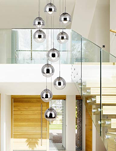 July Stairwell Glass Ball Silver Chandelier Double Staircase Long Chandelier