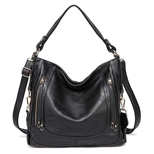Kasqo Hobo Bag, Leather Women Handbag Large Shoulder Bag Top Handle Bag with Detachable Shoulder Strap for Work, Daily Use ()