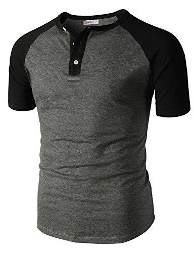 H2H Men's Big & Tall Heavyweight Short-Sleeve Henley Shirt HeatherGray US XL/Asia 2XL (CMTTS0222) by H2H