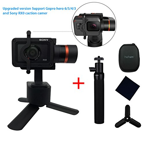 Hohem XG1 Upgraded 3-Axis Wearable Gimbal Stabilizer for GoPro Hero 6/5/4/3, Sony RX0,Yi 4K,SJcam and similar size action camera,Including Tripod stand and extension rod by Hohem