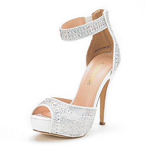 DREAM PAIRS Women's Swan-05 Shine White High Heel Platform Dress Pump Shoes - 7.5 M US (Heel High Shoe Sexy Casual)