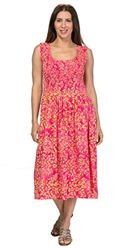 Treasures of Bali 100% Rayon Long Smocked Dress in Assorted Colors (Citrus Leaves, Medium/Large) (Batik Bali Leaves)