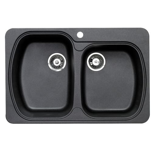 Astracast Kitchen Sink - Astracast US2DRZUSSK-InchD-Inch Bowl Offset Double Bowl, Metallic Black
