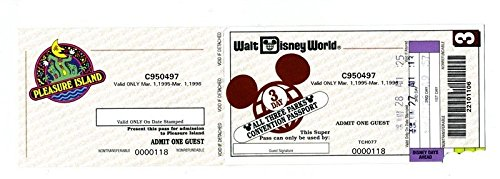 Walt Disney World 3 Day All 3 Parks Convention Passport 1995 Pleasure Island