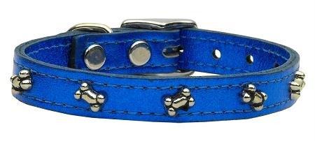Mirage Pet Products Metallic Bone Leather Blue Metal Dog Collar, ()