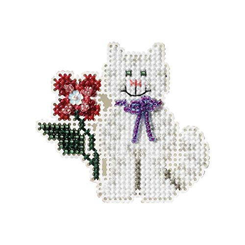 (Tropical Kitty Beaded Counted Cross Stitch Ornament Kit Mill Hill 2007 Spring Bouquet MH18-7103)