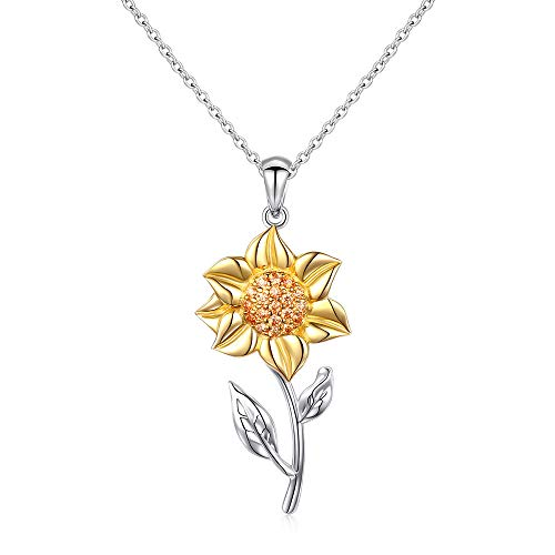 (You Are My Sunshine Sunflower Gold Plated S925 Sterling Silver Pendant Necklace)