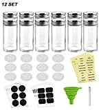 Nellam French Round Glass Spice Jars – Set of 12 with Shaker Lids and Chalkboard Sticker Labels, Small 4oz Bottles - Stackable Herbs and Spices Containers - Decorative Organizers in Silver