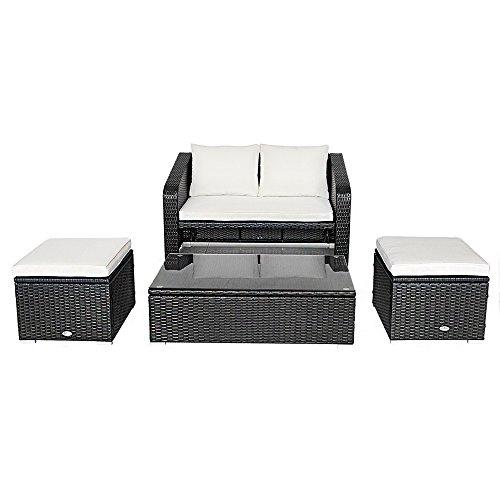 OHYIKA 4 PC Rattan Outdoor Furniture Patio Garden Sectional PE Wicker Cushion Sofa Set (BLACK) price