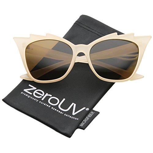 zeroUV - Womens High Fashion Glam Rock Jagged Edge Staggered Cat Eye Sunglasses (Cream / - Eye Cat Cream Sunglasses