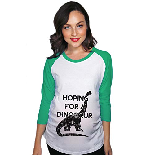 Crazy Dog T-Shirts Maternity Raglan Hoping for A Dinosaur Cute Funny Pregnancy Baseball Tee (Green) - -