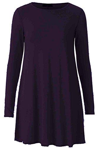 Femmes Uni Jersey Manches Longues Swing Évasé Extensible Court Mini Robe -tailles 8-26 - Pourpre, S/M - 36/38