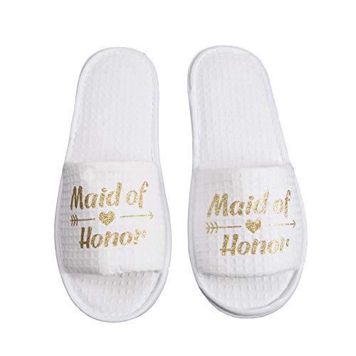 Bachelorette Party Wedding Slippers Bride Maid of Honor Bridesmaid Gift SPA Beach Hotle Slippers Women's Party Favor (Maid of Honor)