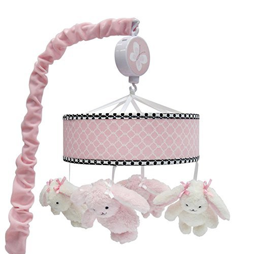 Lambs & Ivy Duchess Pink/Black Bunny Musical Mobile
