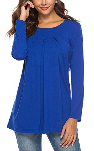 Junior Sweaters Christmas T Shirts Pleated Front Scoop Neck Tops Plain T Shirt RoyalBlue -