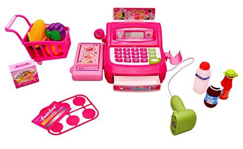 Sunshine Supermarket Shopping Cash Register Play Set, With Barcode Scanner, Pink – 3