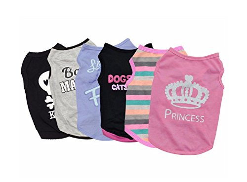 6 pcs/lot Pet Puppy Summer Vest Small Dog Cat Dogs Clothing Cotton T Shirt Apparel Clothes Dog Shirt (XS) - Georgia Bulldog Puppy Collar