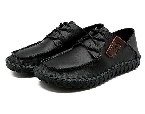 Hombres Oxford Casual Mocasines Cuero Con cordones Hecho a mano Respirable Moda Ponerse Pisos Negro marrón Conducción Zapatos Black