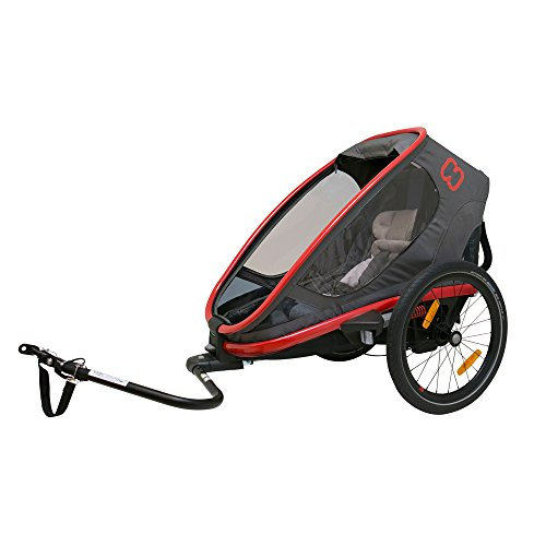 Hamax Outback Multi-Sport Child Bike Trailer + Stroller +Jogger (One Seat, Charcoal/Red) For Sale