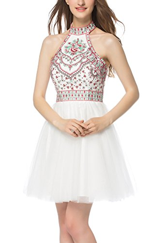 Homecoming White Gowns Evening Embroidery Bridesmaid Dress Dresses Open Back LOVIERA Halter Prom Dresses 2018 Women's Neck Fan5qpRxwR